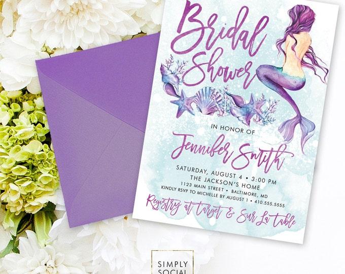Under the Sea Mermaid Bridal Shower Invitation - Seashell Starfish Coral Boho Watercolor Beach Invitation Purple and Aqua Watercolor