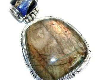 Labradorite, Rainbow abalone, Lapis Lazuli, Onyx Sterling Silver Pendant - weight 19.20g - dim L- 2, W -1 1 4, T -1 4 inch - code 15-cze-16-