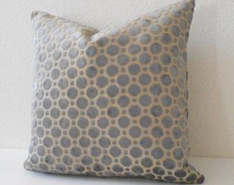 Velvet gray geometric decorative pillow cover