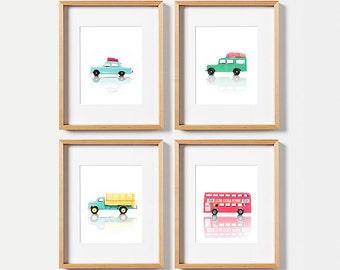 Boy nursery decor, Gallery wall art, PRINTABLE art, Boys room wall art, Vintage car decor, Nursery prints, Boys room decor, Kids room art