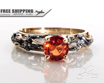 Orange Sapphire Gold Ring Vintage Style Gold Ring Natural Sapphire Engagement Ring 18K Gold Sapphire Ring Orange Sapphire Ring