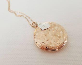 Rose Gold or Silver Locket - Rose Gold Locket Necklace - Best Friend Gift - Initial Locket - Rose Gold Wedding - Bridesmaid Locket Necklace