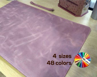 Desk pad leather mat cover blotter cubicle desk accessories for women _ CHOICE of 4 sizes and 27 colors
