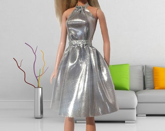 Silver Party dress for Barbie doll. Silver Disco Dress for Barbie