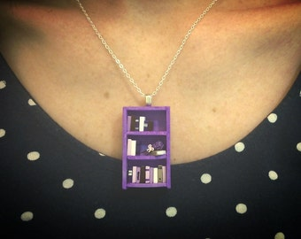 French Lavender Bookshelf Necklace - Book Jewelry by Coryographies (Made to Order)