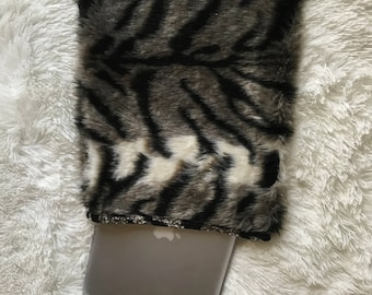Animal Print Fuzzy Laptop Case