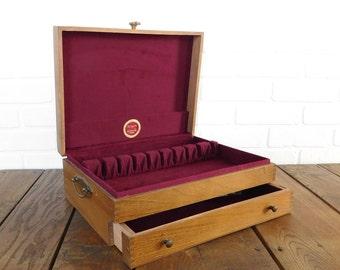 Vintage Naken's Tarnish Proof Silverware Chest, Flatware Place Setting Storage Chest