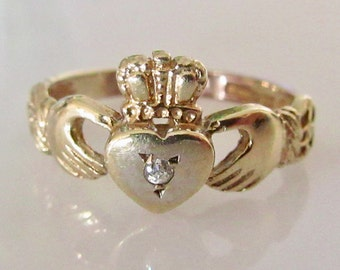9ct Gold and Diamond Claddagh Ring
