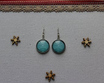 Earrings, Rainbow, turquoise, glass cabochon