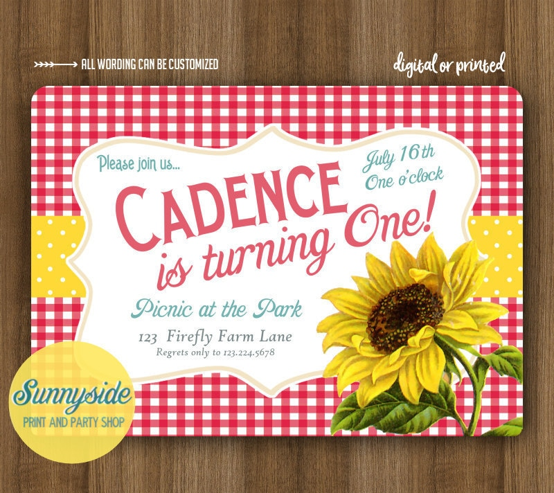 Birthday Picnic Invitation with Sunflower // Gingham Country