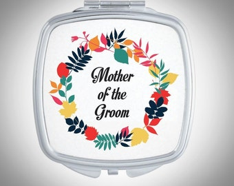 Mother of the Groom - Mother of the Bride - Compact Mirror - Floral Pattern Personalized Mirror Personalized Bridesmaid Gift - Wedding Favor