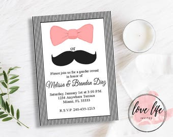 Gender Reveal Invitation | Little Lady Little Man Gender Reveal Invitation | Bow and Mustache Gender Reveal Invitation | Gender Reveal