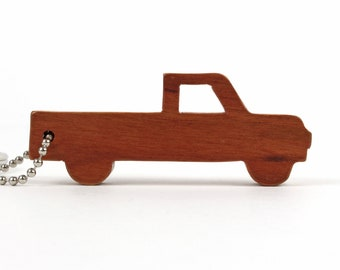 Pickup Truck Silhouette Key Chain, Wood Scroll Saw Outline Vehicle Keychain, Pickup Key Ring, Truck Key Fob, Cherry