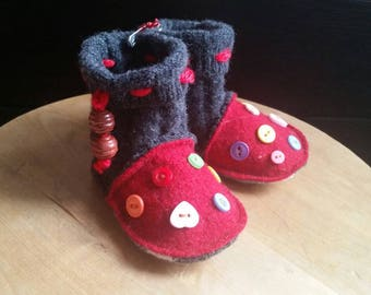 Recycled Felted Wool Baby Booties Size 6 to 12 months