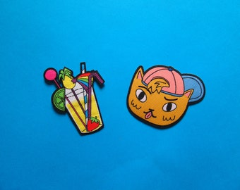 Iron on Patch set - Cat and cocktail - I like cats - Hand over your Fairy Cakes - Patches - Patchgame - Woven patch - cats