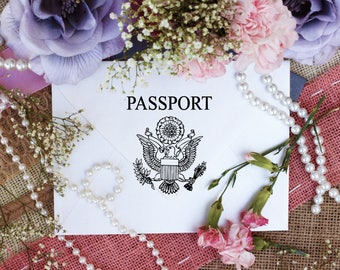 """Pretend passport, Passport Stamp, DIY Passport, Rubber stamps for travel and destination events and projects, 2.5"""" Clear Block --5720"""