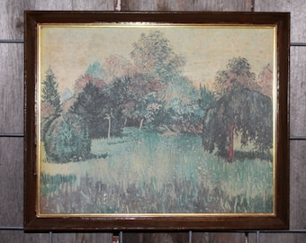 Vintage 1960s Framed Lithograph of an Impressionistic Wildflower Grove Landscape
