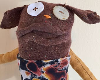 Sustainable Rag Doll Puppy, unique, made with all reclaimed clothing, hand-stiched, plush softie, OOAK stuffed animal, eco friendly, green