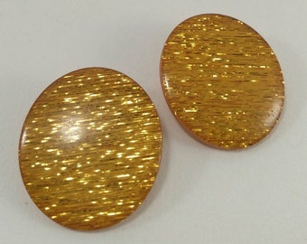 Orange earrings, oval clip on earrings, vintage earrings
