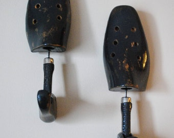 Vintage Chalk Painted Shoe Stretcher Wall Hooks