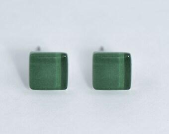 Emerald earrings, square stud earrings, dark green earrings, glass stud earrings, geometric earrings, surgical steel posts