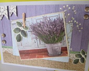 Lavender filled seal (embossed) 3D card