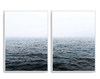 Set of 2 Diptych Prints Moody Oceans Print Ocean Breeze Print poster Ocean Waters Poster Art Scandi Art Print - UNFRAMED