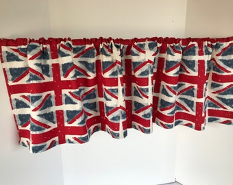Valance Union Jack British Flag Red White Blue Custom Made Window Treatment 53 Inches W x 14 Inches L
