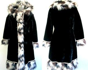 1970s Boho Chic Midi Coat // Faux Fur Glenorba Glenoit Size Medium Winter Outerwear