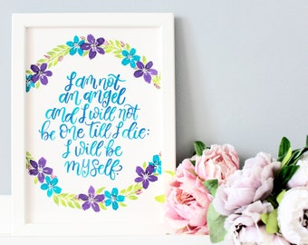 Jane Eyre Framed Quote, Calligraphy Charlotte Bronte Quote, Literary Wall Art, Literary Gift, Jane Eyre Print, Literary Prints, Literature