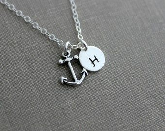Sterling silver Anchor Necklace, Mini Initial Jewelry - Sterling Silver Personalized Initial Necklace, Simple Monogram Single Charm Rustic