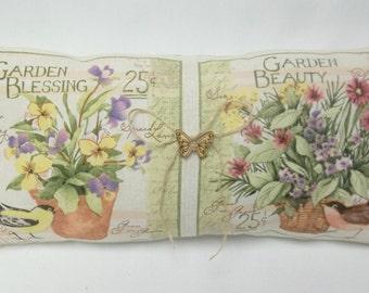 Garden Floral Decorative Pillow, Mother's Day, Flowers, Birds, Garden Blessing