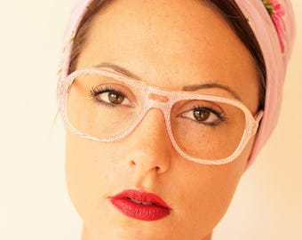Vintage Eyeglass 1970s Aviator Multi-Layered Plastic Checkered Design Red And White Rare New Old Stock Glasses Made In France