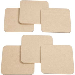 Plain Coasters Set - Square Wood Coaster x 6 - MDF Paint Decorate Craft Home Gift