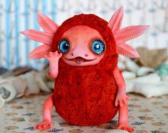 Red Axolotl art doll art toy handmade ooak Fantasy Creature
