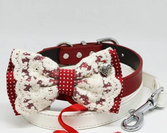Red Lace dog bow tie collar Leash, Paws Charm, Pet wedding, Ring Bearer, Handmade Proposal