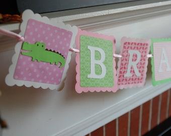 Preppy Alligator Name Banner, Alligator Banner, Alligator Birthday, Alligator Baby Shower, Girl Alligator Banner, Pink, Lime