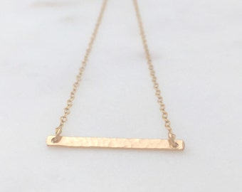 BENNETT | Gold Skinny Bar Necklace | Simple Gold Necklace | Gold Filled Bar Necklace | Tiny Bar Necklace | Thin Bar Necklace