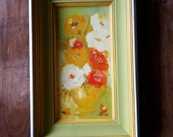 Antique Oil Painting by Lubow, Lubow Artist, Flower Painting, Antique Paintings