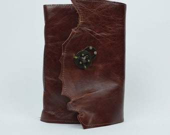 Leather Journal - Handmade, Asparagus paper with twist latch