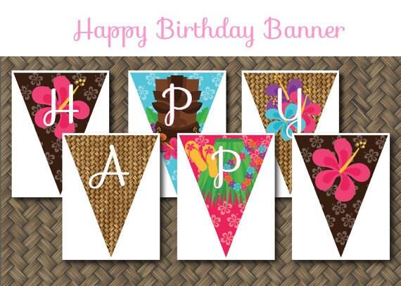 Printable Birthday Banner ~ Hawaiian luau theme printable birthday party banner digital
