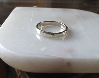 Sterling Silver Ring Band, Thick hammered weding band
