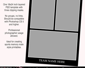 18x24 inch photoshop template - One composite template for school sports, PSD template, team, memory mate, digital download