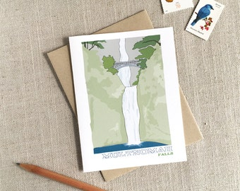 Multnomah Falls Note Card / Oregon Card / Modern Illustrated Card / Pacific Northwest Souvenir Card / Northwest Nature Art Card