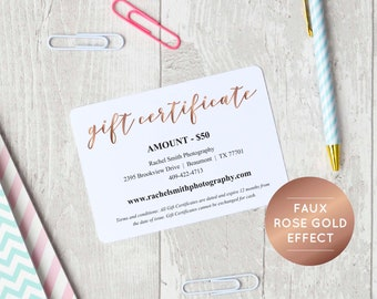 Rose Gold Gift Certificate Template, INSTANT DOWNLOAD, Editable Gift  Certificate, Printable Gift Voucher