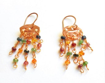 Copper pendant earrings, sapphires, rubies and emeralds