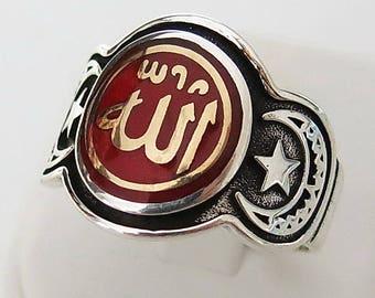 Handmade Allah God islamic Moslem Arabic Calligraphy 925 Sterling Silver Men Woman Ring