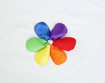 Rainbow Flower - Girls Hair Bow Flower with Rainbow Petals - Rainbow Hair Bow Birthday Party