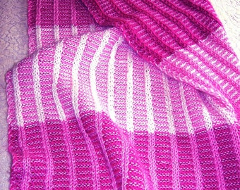 Knitting Pattern-- Reversible Baby Afghan with Double Knit Stripes