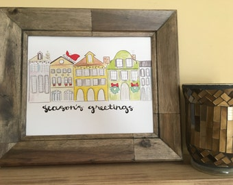 Charleston SC Christmas, Charleston Rainbow Row art, Charleston Christmas Art, Rainbow Row Season's Greetings Handmade Watercolor Art Print